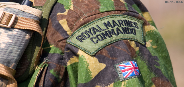 British Royal Commando badge on a Marine's uniform