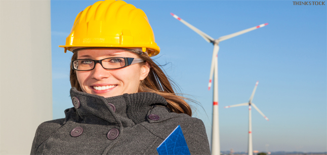 Female engineer in a wind turbine farm